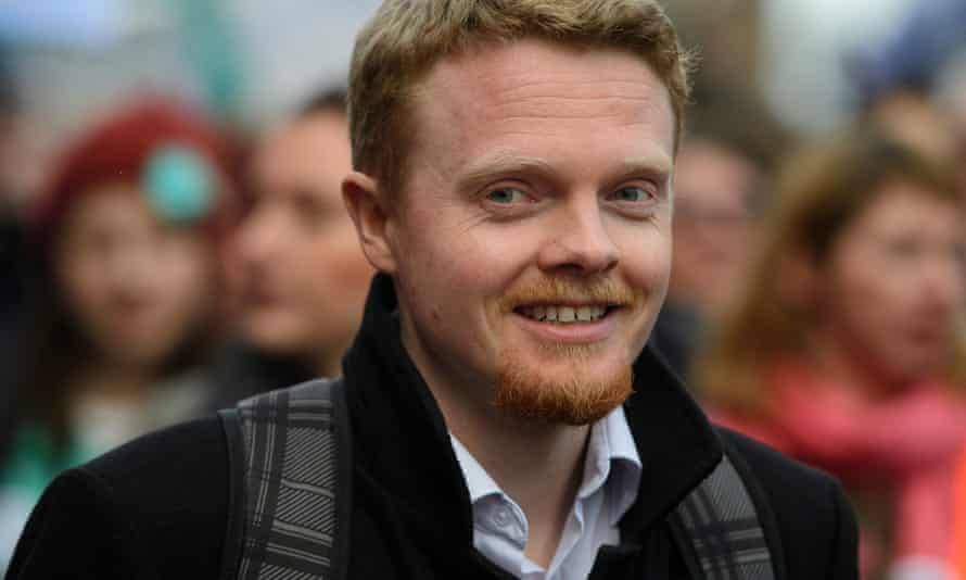 Andrew Fisher at a protest at Westminster in 2016.