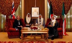 Theresa May meets Kuwait's Emir Sheikh Sabah Al-Ahmed Al-Jaber Al-Sabah (R) at the Kuwait villa in Manama.