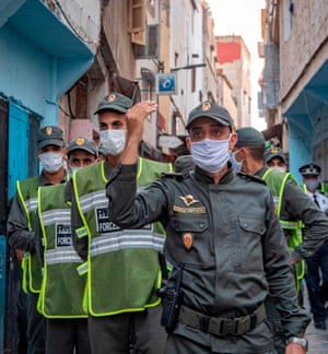 Members of Morocco's interior ministry forces patrol a neighbourhood in Rabat