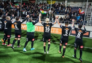 The Dalkurd team celebrating after their 1-0 win away to Gefle in September 2017.