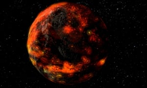 An artist's illustration of what the lunar magma ocean may have looked like shortly after the formation of the moon.