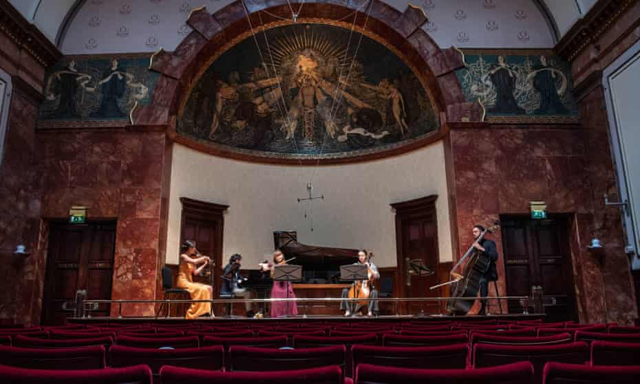 The Kaleidoscope Chamber Collective rehearse at Wigmore Hall for a summer concert in 2020.