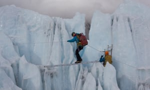 The treacherous Khumbu Icefall on the route to the summit of Everest, where 16 people, 13 of them Sherpas, were killed in 2014.