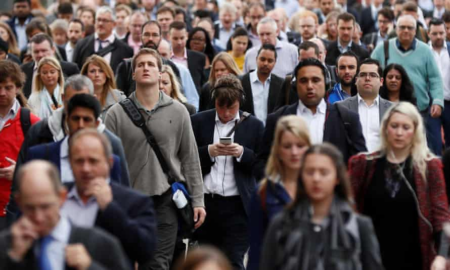 Commuters at London Bridge on their way to work.