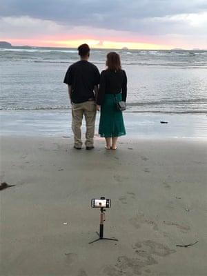 Selfies on Chichibuga beach, Japan