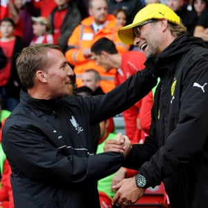 Brendan Rodgers as Liverpool manager with Jürgen Klopp before Borussia Dortmund's friendly at Anfield in August 2014