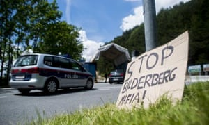 A sign in front of a police checkpoint on a road leading to the Interalpen-Hotel Tirol, venue of the Bilderberg conference.