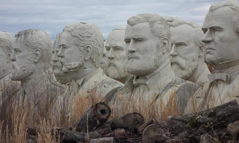 weatherbeaten statues of former US presidents mouldering in a field in Croaker, Virginia.