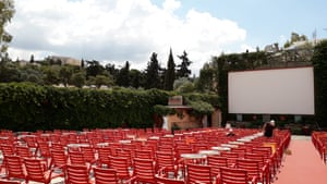 Cine Thision, Athens' oldest open-air cinema, prepares to open as Greek authorities ease lockdown measures.