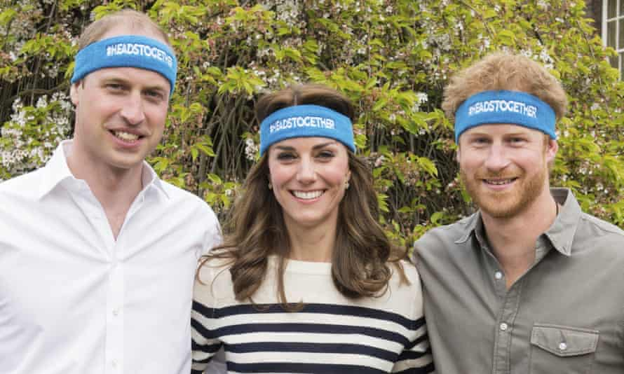 Prince William, the Duchess of Cambridge and Prince Harry wearing charity headbands for Heads Together campaign to encourage people to talk about mental health.