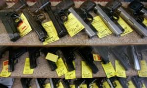 Where are all the guns? Handguns for sale in a shop, Idaho, USA.