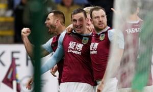 Chris Wood celebrates scoring Burnley's first goal against Newcastle.