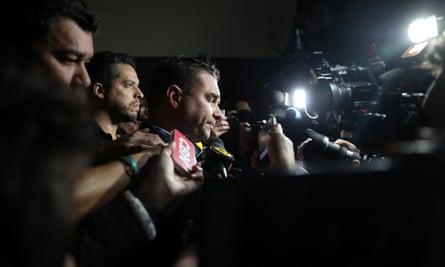 Flavio Bolsonaro, son of presidential candidate Jair Bolsonaro, leaves the Santa Casa hospital