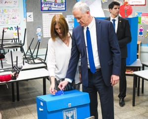 Benny Gantz, the Blue and White leader, casts his vote alongside his wife, Revital.