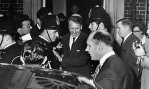 Ian Smith, prime minister of Rhodesia, leaving No 10 Downing Street, 11 October 1965.