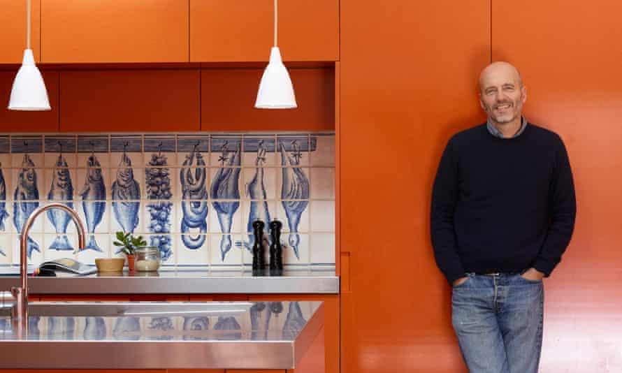 The blue kitchen splashback tiles are from newterracotta.com.