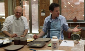 Liberal Dem leader Nick Clegg and Business Secretary Vince Cable join in a pottery class .