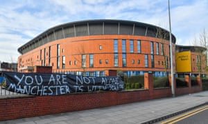 Salford Royal hospital, Manchester, with a message of support for NHS staff. It has reported five deaths from Covid-19.