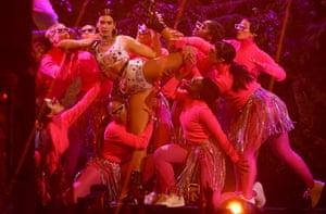 Dua Lipa performing One Kiss with Calvin Harris.