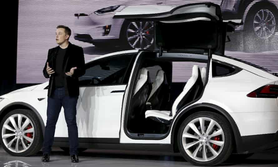 Musk presents the Model X electric sports-utility vehicle in Fremont, California, last year. Photograph: Reuters