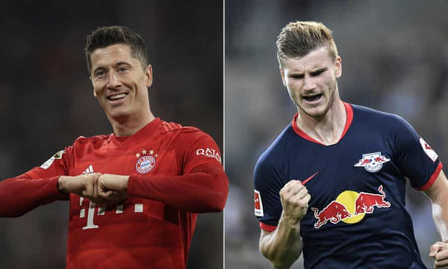 Bayern's Robert Lewandowski (left) and Timo Werner are in fine scoring form, with the former on 22 and the Leipzig striker hitting two fewer.
