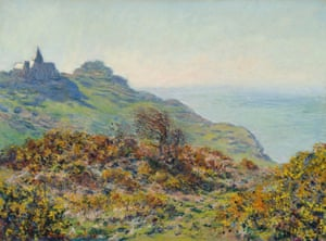 The Church at Varengeville and the Gorge of Moutiers, 1882	by Claude Monet.