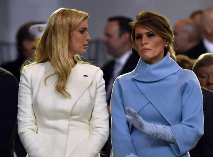 Melania Trump and her stepdaughter, Ivanka, at the president's inaugural parade in January 2017.