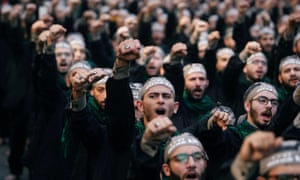 Hezbollah supporters at a religious celebration in Beirut, Lebanon.