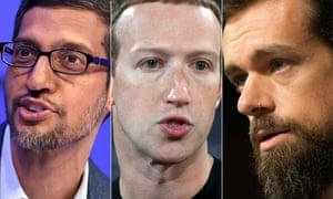 Sundar Pichai, Mark Zuckerberg and Jack Dorsey testified before lawmakers on Wednesday.