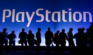 Gamers at the Sony Playstation booth during the annual E3 gaming conference