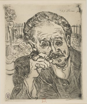 L'Homme à la pipe, Vincent Van Gogh, 1890 © Vincent Van Gogh made this, his only etching, after he was released from the Saint-Rémy asylum. It depicts his doctor Paul Ferdinand Gachet, described by Van Gogh as 'a ready-made friend and something like a new brother… he's very nervous and very bizarre himself'