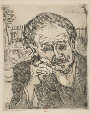 The 1890 etching L'Homme à la Pipe by Van Gogh depicts the doctor who treated the artist after leaving Saint-Rémy asylum.
