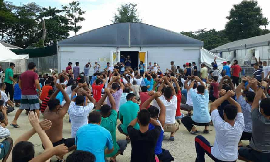 Refugees and asylum seekers at the Manus Island immigration detention centre.
