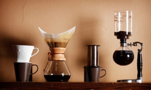 Four different methods of brewing coffee are displayed at Buddy Brew in Tampa