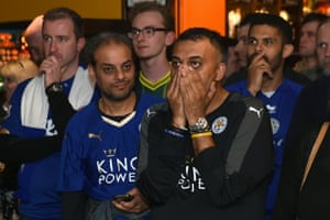 Chelsea are two down at half-time and the fans at the Local Hero pub in Leicester look on in despair.