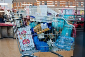 An overloaded shopping trolley in Iceland in Brixton