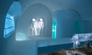 An interior shot of the Space Room suite in the Ice Hotel