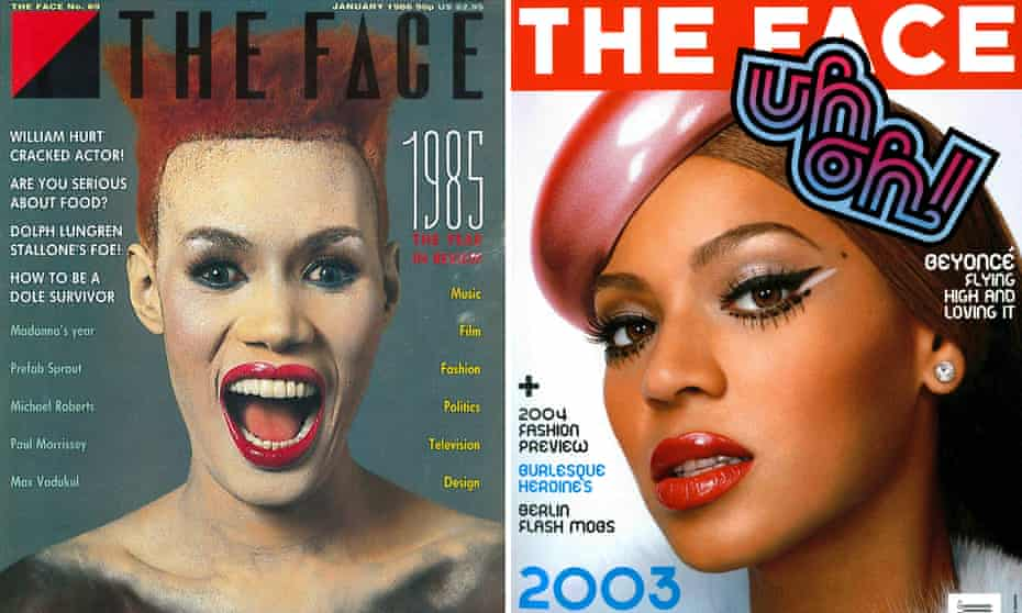 Face up to it ... classic covers from January 1986 (left) and October 2003.