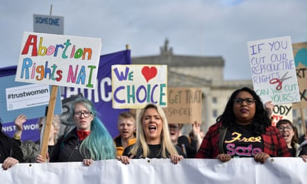 Members of pro-choice group Alliance for Choice make their way to Stormont
