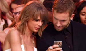 Taylor Swift with her ex-boyfriend Calvin Harris. Swift was among the first to test the feature.
