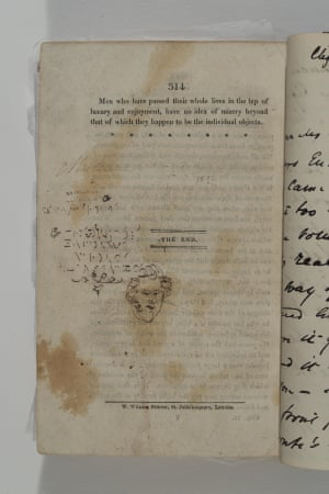 This drawing and text (possibly an early version of shorthand) is believed to be by Branwell.