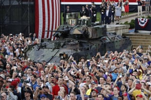 The Bradley Fighting Vehicle surrounded by audience members