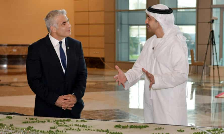 Yair Lapid meets with the Minister of Foreign Affairs and International Cooperation of the United Arab Emirates, Sheikh Abdullah bin Zayed bin Sultan Al Nahyan