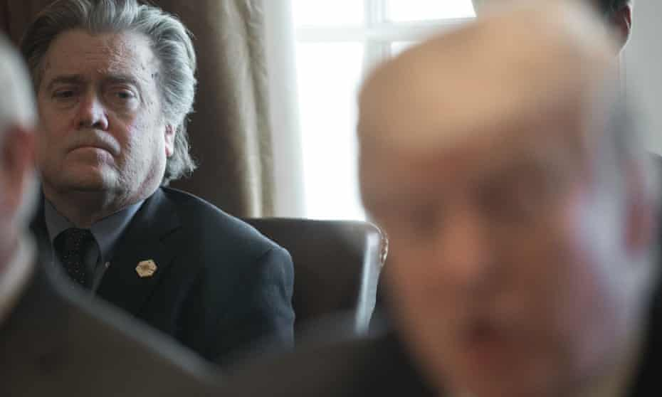 Steve Bannon listens as Trump speaks at the White House in March 2017.