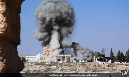 An explosion at the 2,000-year-old Temple of Baalshamin in Palmyra, as posted on a website linked to Isis.