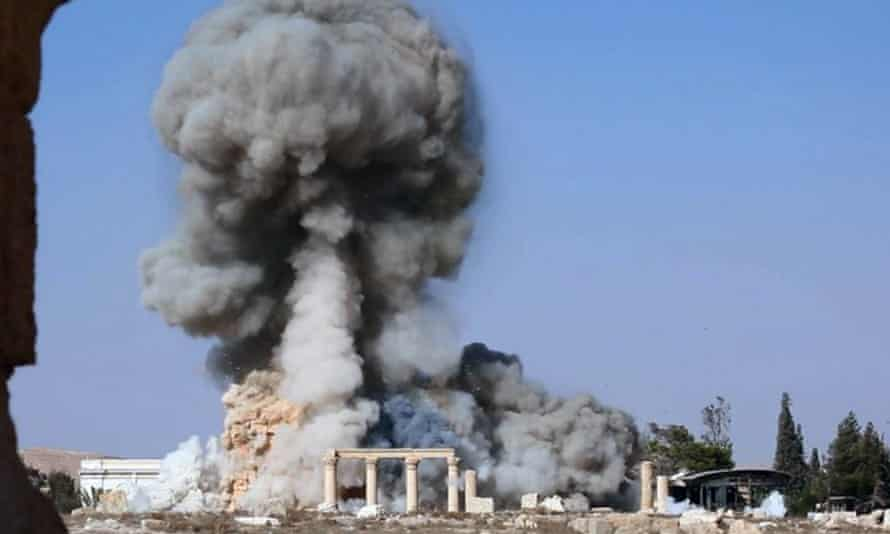 Smoke from the detonation of the 2,000-year-old temple of Baalshamin.
