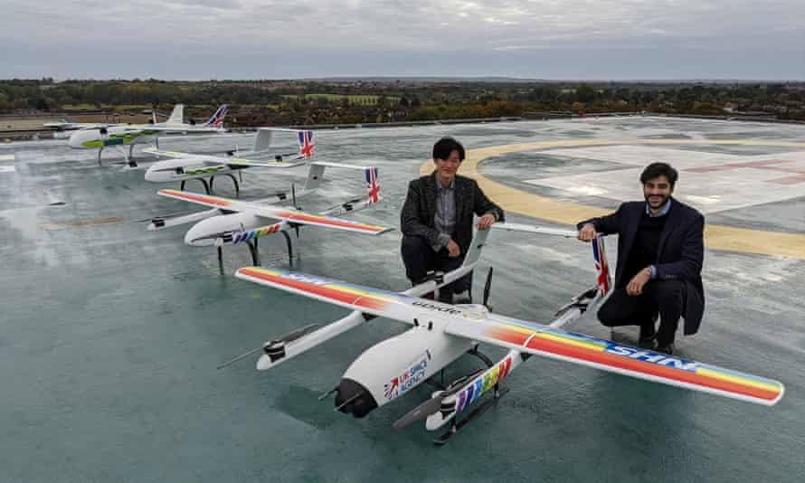 Hammad Jeilani and Christopher Law with their Apian drones being trialled for Covid-19 logistics in Essex.