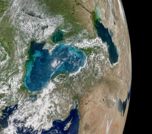 Phytoplankton bloom in the Black Sea. The image is a mosaic, composed from multiple satellite passes over the region