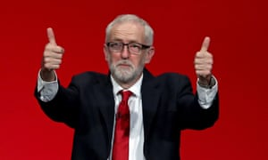 Jeremy Corbyn with his thumbs up.