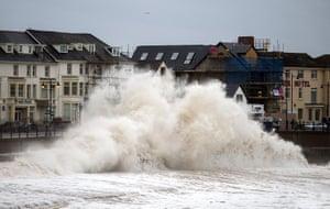 Porthcawl, Wales: Windy weather batters the coastline
